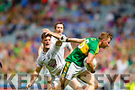 James O'Donoghue, Kerry in action against Mick O'Grady, Kildare in the All Ireland Quarter Final at Croke Park on Sunday.