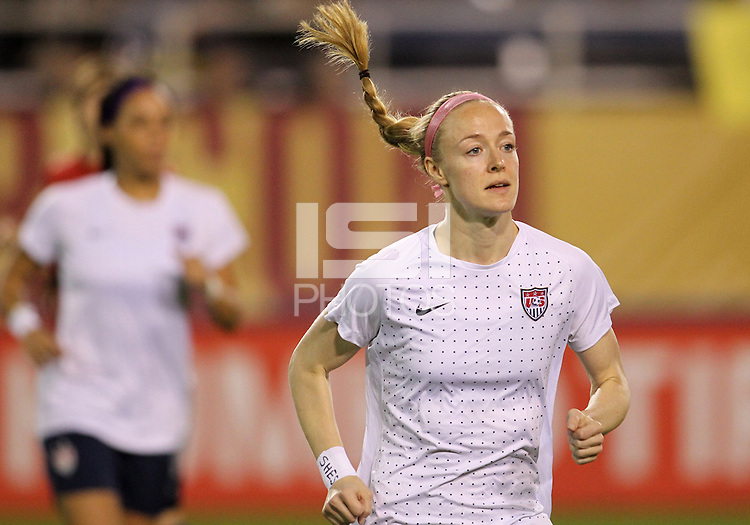 BOCA RATON, FL - DECEMBER 15, 2012: Becky Sauerbrunn (4) of the USA WNT of during an international friendly match against China at FAU Stadium, in Boca Raton, Florida, on Saturday, December 15, 2012. USA won 4-1.