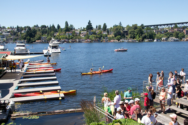 Seattle, Lake Union, Portage Bay, Agua Verde Paddle Club and Cafe, kayakers, kayak rentals, summer, Washington State; Pacific Northwest; U.S.A.;