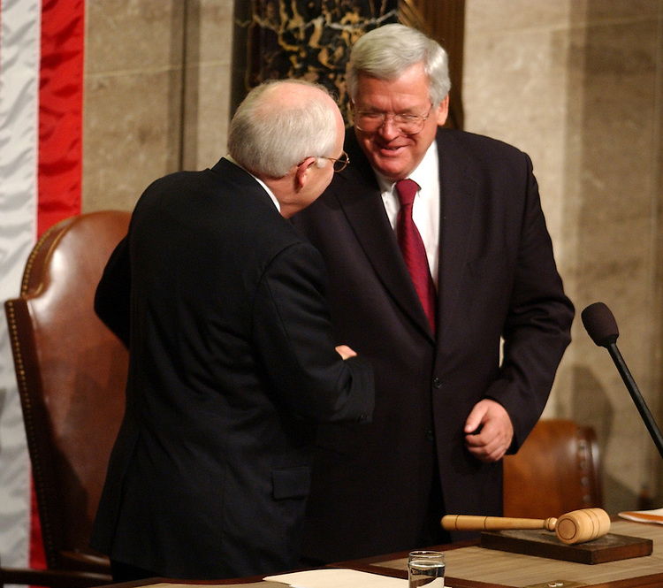 union7/012803 -- Vice President Dick Cheney and Speaker Dennis Hastert, R-Ill., shake hands before the State of the Union Address, Tuesday, Jan. 28, 2003.