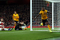 Ivan Cavaleiro of Wolves celebrates scoring the first goal during Arsenal vs Wolverhampton Wanderers, Premier League Football at the Emirates Stadium on 11th November 2018