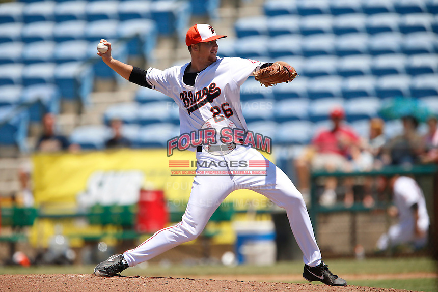Shane Dyer #26 of the Bakersfield Blaze pitches against the San Jose Giants at Sam Lynn Ballpark on August 4, 2013 in Bakersfield, California. San Jose defeated Bakersfield, 7-4. (Larry Goren/Four Seam Images)