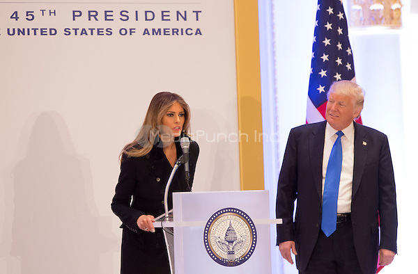 President-elect of The United States Donald J. Trump listens to First Lady-elect Melania Trump as she speaks to Republican leadership January 19, 2017 the day before his swearing in as 45th President of The United States. <br /> Credit: Chris Kleponis / Pool via CNP /MediaPunch