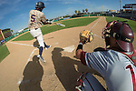 May 23, 2014; Stockton, CA, USA; Pepperdine Waves infielder Manny Jefferson (5) bats in front of Loyola Marymount Lions catcher Cassidy Brown (13) during the WCC Baseball Championship at Banner Island Ballpark.