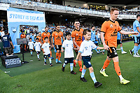 31st January 2020; Netstrata Jubilee Stadium, Sydney, New South Wales, Australia; A League Football, Sydney FC versus Brisbane Roar; Corey Brown of Brisbane Roar and his team walk onto the pitch before kick off