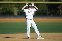 Jonathan Pryor (11) of the Wake Forest Demon Deacons singles to the dugout after leading off the bottom of the 1st inning with a double against the USC Trojans at David F. Couch Ballpark on February 24, 2017 in  Winston-Salem, North Carolina.  The Demon Deacons defeated the Trojans 15-5.  (Brian Westerholt/Four Seam Images)