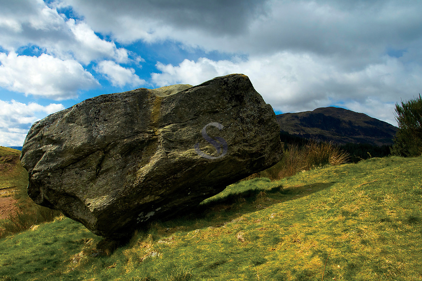 Samson's Putting Stone above The Great Trossachs Path, Loch Lomond and the Trossachs National Park, Stirlingshire