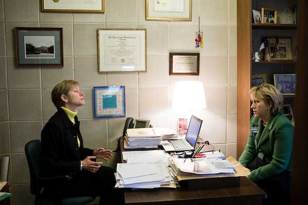March 17, 2009. Raleigh, NC.. Images from one day in the life of Deborah K. Ross, Representative for North Carolina House District 38.. 9:44 AM. Ross meets with Kelli H. Kukura of the NC League of Municipalities.