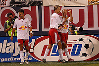 New York Red Bulls midfielder (13) Clint Mathis gives the finger after scoring just before the half of an MLS regular season match against the Los Angeles Galaxy at Giants Stadium, East Rutherford, NJ, on August 18, 2007. The Red Bulls defeated the Galaxy 5-4. *** CAUTION OBSCENE GESTURE ***
