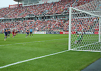 21 August 2010: New York Red Bulls forward Juan Pablo Angel # 9 scores on a penalty kick during a game between the New York Red Bulls and Toronto FC at BMO Field in Toronto..The New York Red Bulls won 4-1.