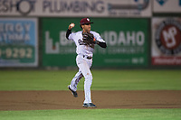 Idaho Falls Chukars shortstop Offerman Collado (0) throws to first base during a Pioneer League game against the Billings Mustangs at Melaleuca Field on August 22, 2018 in Idaho Falls, Idaho. The Idaho Falls Chukars defeated the Billings Mustangs by a score of 5-3. (Zachary Lucy/Four Seam Images)