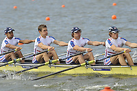 Brandenburg, GERMANY,  GBR BLM4X,  Bow, Henry CHIN, Nicholas FAIRHEAD, Bob HEWITT and Christopher BODDY, move away from the start,  at the 2008 FISA U23 World Rowing Championships, {idow], {date}, [Mandatory credit: Peter Spurrier Intersport Images].. Rowing Course: Brandenburg, Havel Rowing Course, Brandenburg, GERMANY