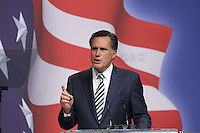 Washington DC, Feb 18. Mitt Romney, former Governor of  Massachusetts pictured during his speech at the CPAC 2010 conference in Washington DC.