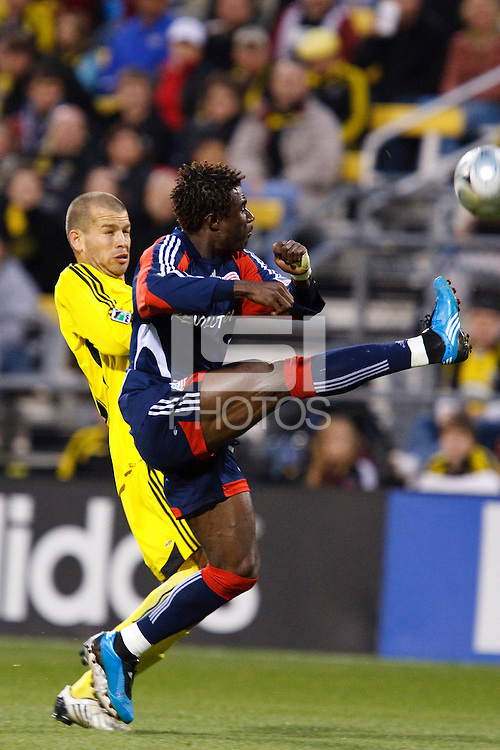 25 OCTOBER 2009:  Alejandro Moreno of the Columbus Crew (10) and Kenny Mansally of the New England Revolution (29) during the New England Revolution at Columbus Crew MLS game in Columbus, Ohio on October 25, 2009.