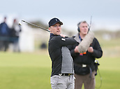6th October 2017, Carnoustie Golf Links, Carnoustie, Scotland; Alfred Dunhill Links Championship, second round; Singer Ronan Keating tees off on the seventeeth hole during the second round at the Alfred Dunhill Links Championship on the Championship Links, Carnoustie