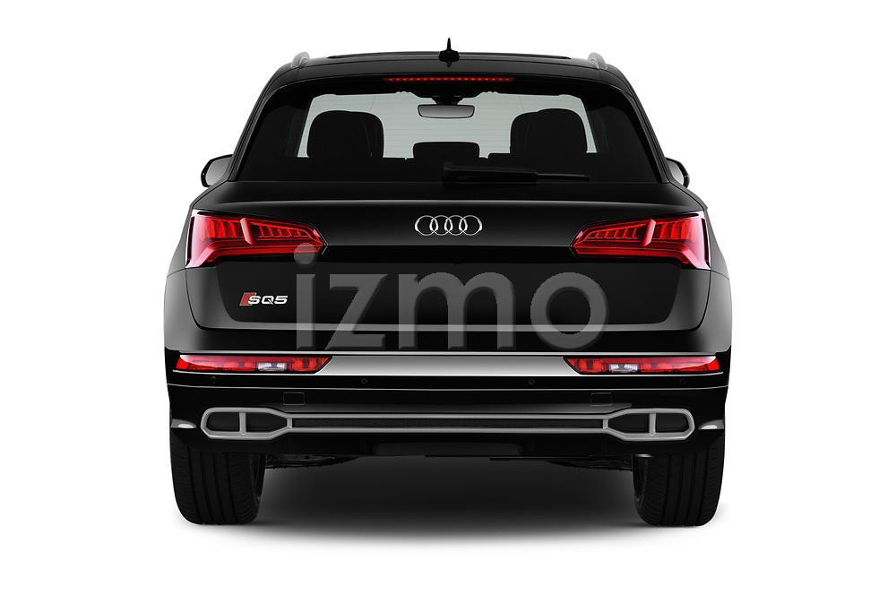 Straight rear view of a 2018 Audi SQ5 Premium Plus 5 Door SUV stock images