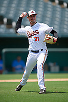 Bowie Baysox pitcher Tanner Chleborad (31) during an Eastern League game against the Akron RubberDucks on May 30, 2019 at Prince George's Stadium in Bowie, Maryland.  Akron defeated Bowie 9-5.  (Mike Janes/Four Seam Images)