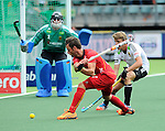 The Hague, Netherlands, June 15: Sebastien Dockier #9 of Belgium scores a field goal (4-2) during the field hockey placement match (Men - Place 5th/6th) between Belgium and Germany on June 15, 2014 during the World Cup 2014 at Kyocera Stadium in The Hague, Netherlands. Final score 4-2 (1-1)  (Photo by Dirk Markgraf / www.265-images.com) *** Local caption *** Nicolas Jacobi #1 of Germany, Sebastien Dockier #9 of Belgium, Benjamin Weiss #15 of Germany, Benedikt Fuerk #24 of Germany