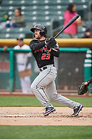 Tom Murphy (23) of the Albuquerque Isotopes bats against the Salt Lake Bees at Smith's Ballpark on April 8, 2018 in Salt Lake City, Utah. Albuquerque defeated Salt Lake 11-4. (Stephen Smith/Four Seam Images)
