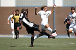 11 September 2005: Abdul Kargbo (l) and Justin Moose (r) challenge for the ball in the first half. The Wake Forest Demon Deacons defeated the Rutgers Scarlet Knights 5-1 in an NCAA Divison I men's soccer game at Fetzer Field in Chapel Hill, NC..***LIVE IMAGE***
