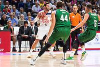 Real Madrid's player Rudy Fernandez and Unicaja Malaga's player Dejan Musli and Nemanja Nedovic during match of Liga Endesa at Barclaycard Center in Madrid. September 30, Spain. 2016. (ALTERPHOTOS/BorjaB.Hojas) /NORTEPHOTO.COM