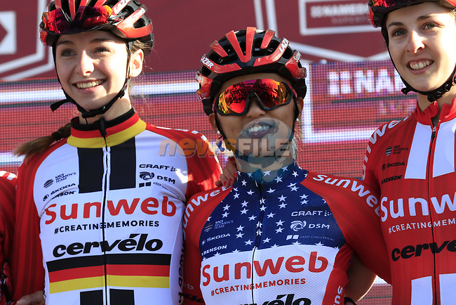 German National Champion Liane Lippert (GER) and US National Champion Coryn Rivera (USA) Team Sunweb Women at sign on before the Strade Bianche Women Elite 2019 running 133km from Siena to Siena, held over the white gravel roads of Tuscany, Italy. 9th March 2019.<br /> Picture: Eoin Clarke | Cyclefile<br /> <br /> <br /> All photos usage must carry mandatory copyright credit (© Cyclefile | Eoin Clarke)