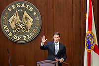 TALLAHASSEE, FLA. 11/22/16-Outgoing Senate President Andy Gardiner, R-Orlando, waves as he leaves the podium for the last time during the 2016 organizational session at the Capitol in Tallahassee.<br /> <br /> COLIN HACKLEY PHOTO