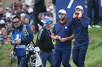 Justin Rose (Team Europe) and Jon Rahm (Team Europe) during Friday's Fourballs, at the Ryder Cup, Le Golf National, Îls-de-France, France. 28/09/2018.<br /> Picture David Lloyd / Golffile.ie<br /> <br /> All photo usage must carry mandatory copyright credit (© Golffile | David Lloyd)