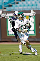February 20, 2011:  Jacksonville Dolphins midfielder Jeremy Tissenbaum (53) during Lacrosse action between the Georgetown Hoyas and Jacksonville Dolphins during the Moe's Southwest SunShine Classic played at EverBank Field in Jacksonville, Florida.  Georgetown defeated Jacksonville 14-11.