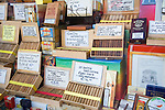 Display of cigar products in shop window, Gouda, South Holland, Netherlands,