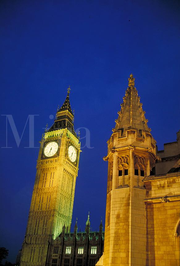 Big Ben & Parliament at night. London, England. London, England.
