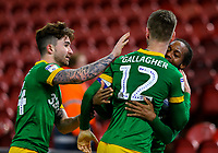 Preston North End's Paul Gallagher celebrates scoring his side's first goal with Daniel Johnson and Sean Maguire<br /> <br /> Photographer Alex Dodd/CameraSport<br /> <br /> The EFL Sky Bet Championship - Middlesbrough v Preston North End - Wednesday 13th March 2019 - Riverside Stadium - Middlesbrough<br /> <br /> World Copyright &copy; 2019 CameraSport. All rights reserved. 43 Linden Ave. Countesthorpe. Leicester. England. LE8 5PG - Tel: +44 (0) 116 277 4147 - admin@camerasport.com - www.camerasport.com