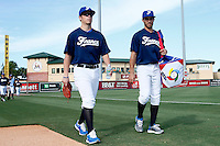 20 September 2012: Warren Coopman and Andy Pitcher arrive on the field prior to Spain 8-0 win over France, at the 2012 World Baseball Classic Qualifier round, in Jupiter, Florida, USA.