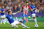 Atletico de Madrid's Saul Niguez (c) and Leicester City FC's Jamie Vardy (l) and Riyad Mahrez during Champions League 2016/2017 Quarter-finals 1st leg match. April 12,2017. (ALTERPHOTOS/Acero)