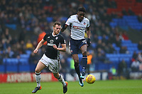 Bolton Wanderers' Sammy Ameobi wins the ball against TomaS Kalas  of Fulham<br /> <br /> Photographer Leila Coker/CameraSport<br /> <br /> The EFL Sky Bet Championship - Bolton Wanderers v Fulham - Saturday 10th February 2018 - Macron Stadium - Bolton<br /> <br /> World Copyright &copy; 2018 CameraSport. All rights reserved. 43 Linden Ave. Countesthorpe. Leicester. England. LE8 5PG - Tel: +44 (0) 116 277 4147 - admin@camerasport.com - www.camerasport.com