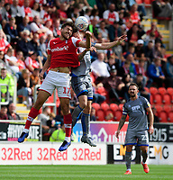Lincoln City's Michael O'Connor vies for possession with Rotherham United's Matt Crooks<br /> <br /> Photographer Chris Vaughan/CameraSport<br /> <br /> The EFL Sky Bet Championship - Rotherham United v Lincoln City - Saturday 10th August 2019 - New York Stadium - Rotherham<br /> <br /> World Copyright © 2019 CameraSport. All rights reserved. 43 Linden Ave. Countesthorpe. Leicester. England. LE8 5PG - Tel: +44 (0) 116 277 4147 - admin@camerasport.com - www.camerasport.com
