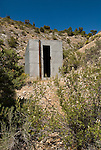 Outhouse behind a powder house near an old mining camp in Nevada