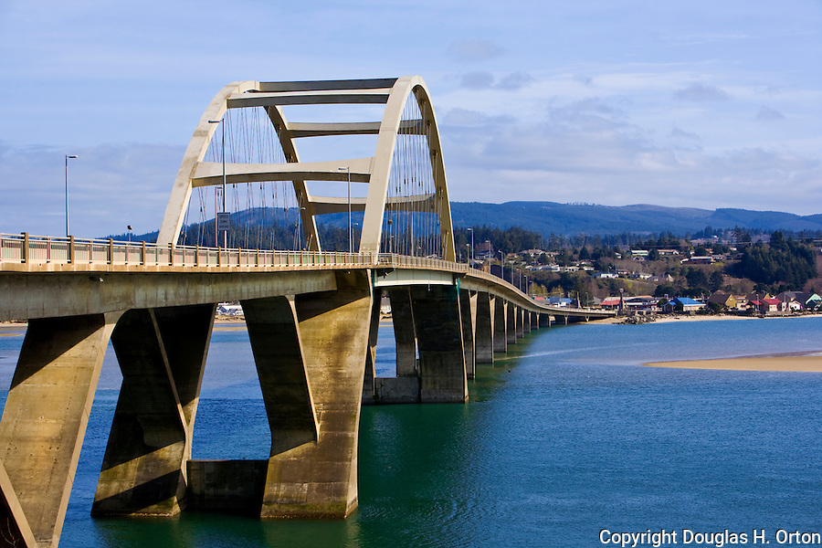 Alsea Bay Bridge, a replacement for the original coast highway birdge, near Waldport on the Oregon Coast.