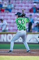 Eugene Emeralds third baseman Jake Slaughter (41) at bat during a Northwest League game against the Salem-Keizer Volcanoes at Volcanoes Stadium on August 31, 2018 in Keizer, Oregon. The Eugene Emeralds defeated the Salem-Keizer Volcanoes by a score of 7-3. (Zachary Lucy/Four Seam Images)