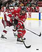 Viktor Liljegren (RPI - 12) - The Harvard University Crimson defeated the visiting Rensselaer Polytechnic Institute Engineers 5-2 in game 1 of their ECAC quarterfinal series on Friday, March 11, 2016, at Bright-Landry Hockey Center in Boston, Massachusetts.