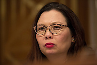 United States Senator Tammy Duckworth (Democrat of Illinois) listens to the testimony of Howard Elliott, Administrator of Pipeline and Hazardous Materials Safety Administration, during a US Senate Subcommittee on Transportation and Safety hearing on Capitol Hill in Washington, DC on April 10, 2019.<br /> Credit: Stefani Reynolds / CNP/AdMedia