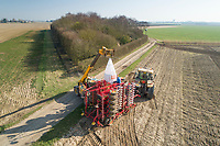 Loading drill with barley seed- Lincolnshire, February