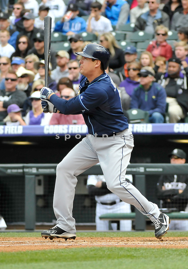 Tampa Bay Rays Kelly Johnson (2) during a game against the Colorado Rockies on May 5, 2013 at Coors Field in Denver, CO. The Rays beat the Rockies 8-3.