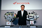 TOKYO - SEPTEMBER 8, 2009: Honda Motors President Takanobu Ito poses among the company's new technologies of automatic transmissions for their motorcycle during a press-conference at the company's Tokyo headquarter. (Photo Laurent Benchana/Nippon News)