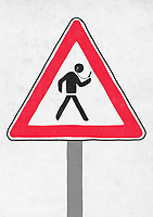 Road warning sign for figure distracted by smart phone ExclusiveImage