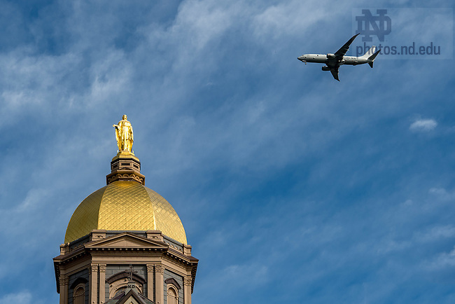 September 22, 2016; U.S. Navy P-8 Poseidon aircraft over the Dome while on approach to South Bend Airport. (Photo by Matt Cashore/University of Notre Dame)
