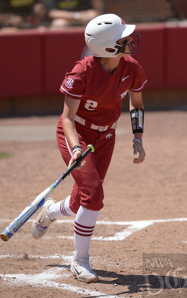 NWA Democrat-Gazette/ANDY SHUPE<br />Arkansas shortstop A.J. Belans follows through with a solo home run Saturday, May 19, 2018, during the fifth inning against Wichita State at Bogle Park during the NCAA Fayetteville Softball Regional on the university campus in Fayetteville. Visit nwadg.com/photos to see more photographs from the game.