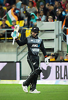 NZ's Tim Seifert achknowledges the applause after scoring 84 during the international Twenty20 cricket match between NZ Black Caps and India at Westpac Stadium in Wellington, New Zealand on Wednesday, 6 February 2019. Photo: Dave Lintott / lintottphoto.co.nz