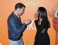 07 April 2019 - New York, New York - Hugh Jackman and Zoe Saldana at the New York Premiere of &quot;MISSING LINK&quot;, held at Regal Cinemas Battery Park II.<br /> CAP/ADM/LJ<br /> &copy;LJ/ADM/Capital Pictures