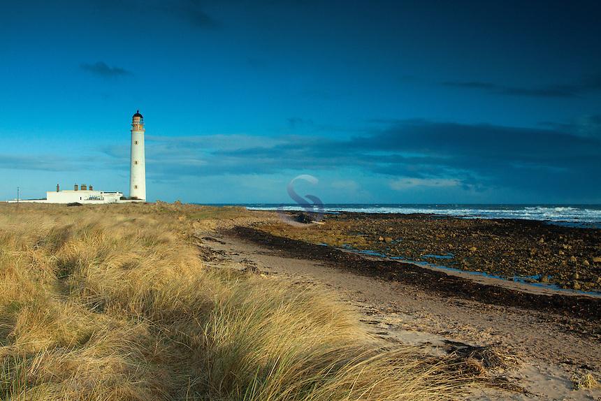 Barns Ness Lighthouse on the John Muir Way near Dunbar, East Lothian